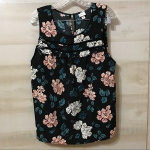 Merona Floral Scoopneck Sleeveless Blouse SZ XL